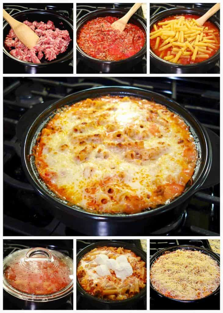 step by step photos of making baked ziti in a dutch oven