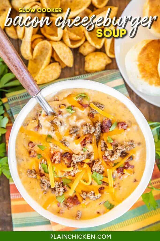 bowl of cheese hamburger soup