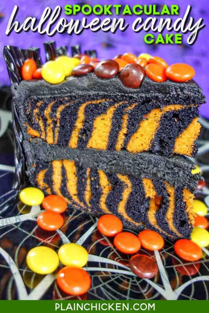 slice of black & orange halloween cake