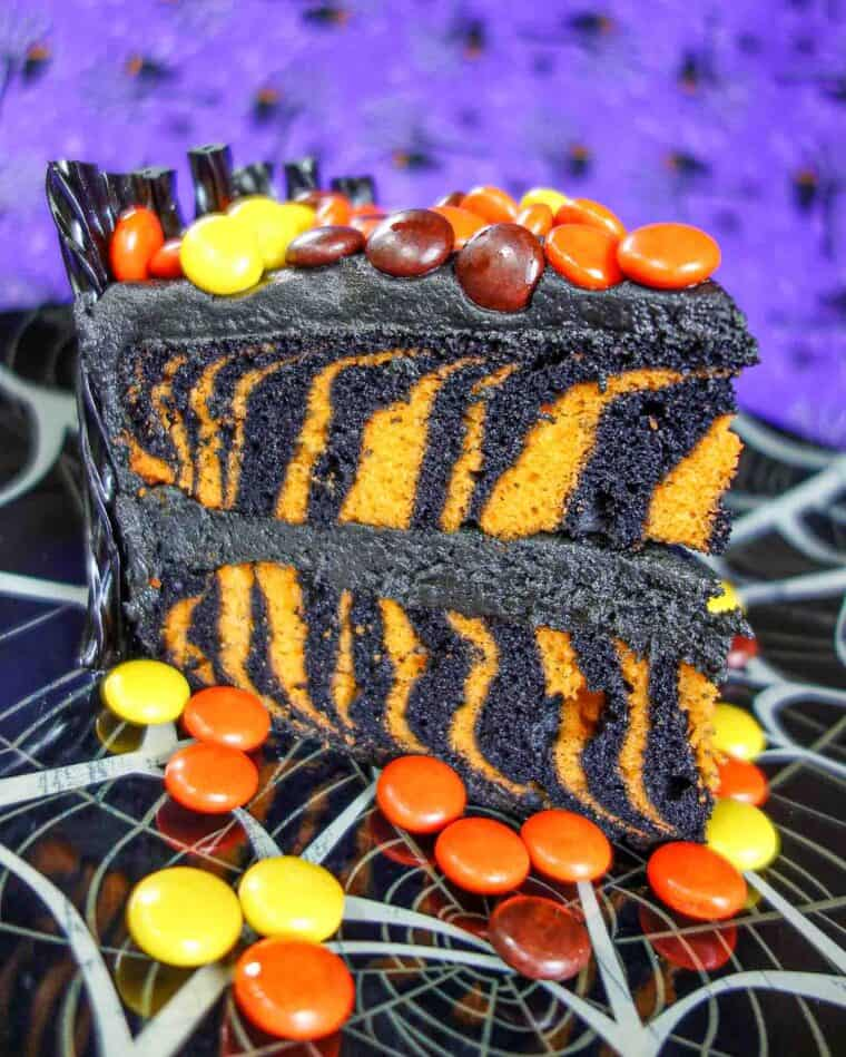 slice of black & orange halloween cake
