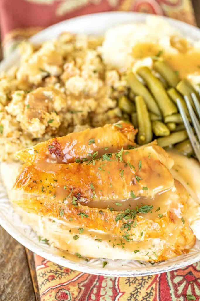 plate of turkey & dressing