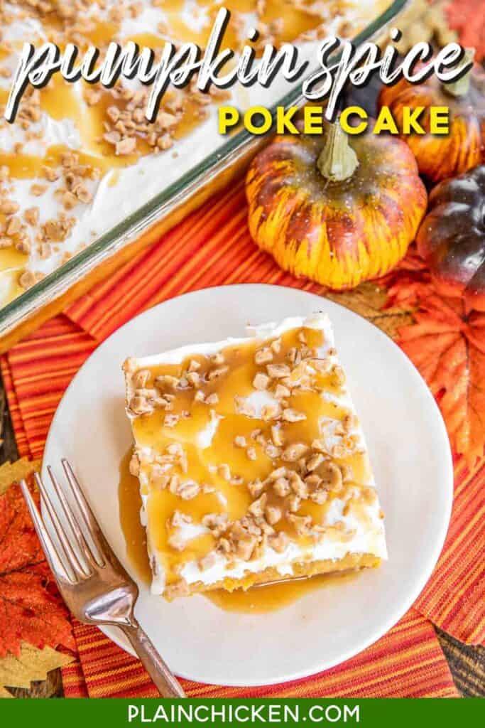 slice of pumpkin cake on a plate