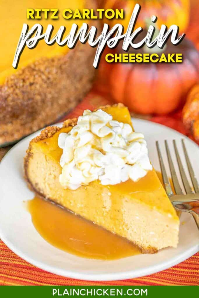 slice of pumpkin cheesecake on a plate with caramel sauce