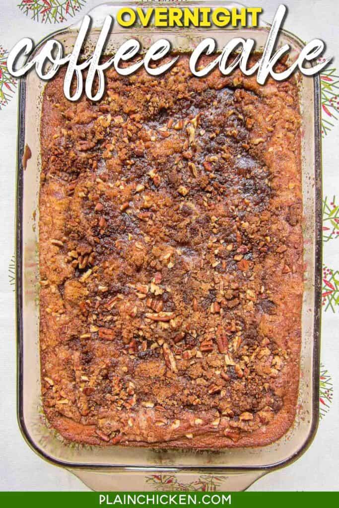 coffee cake in baking dish