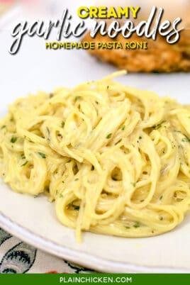 plate of garlic angel hair pasta noodles