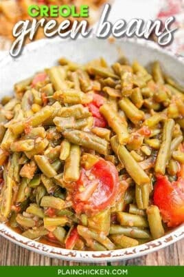 bowl of green beans and tomatoes