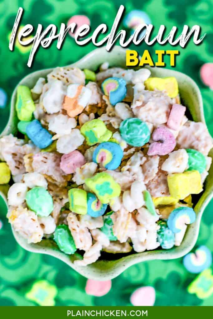 bowl of leprechaun bait lucky charm chex mix