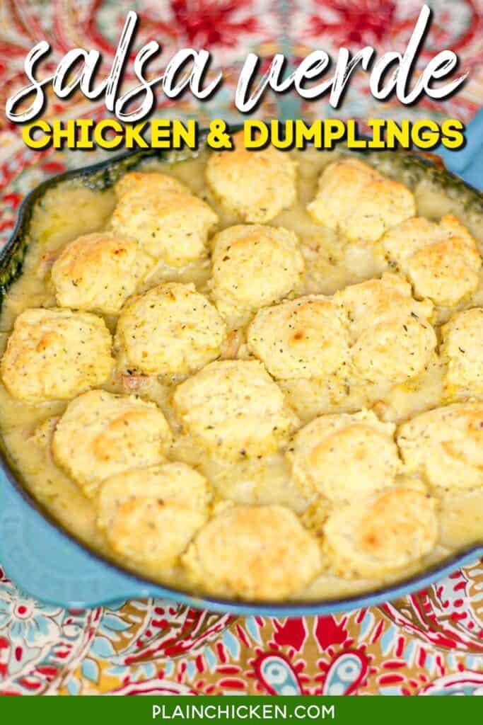 skillet of chicken and dumplings