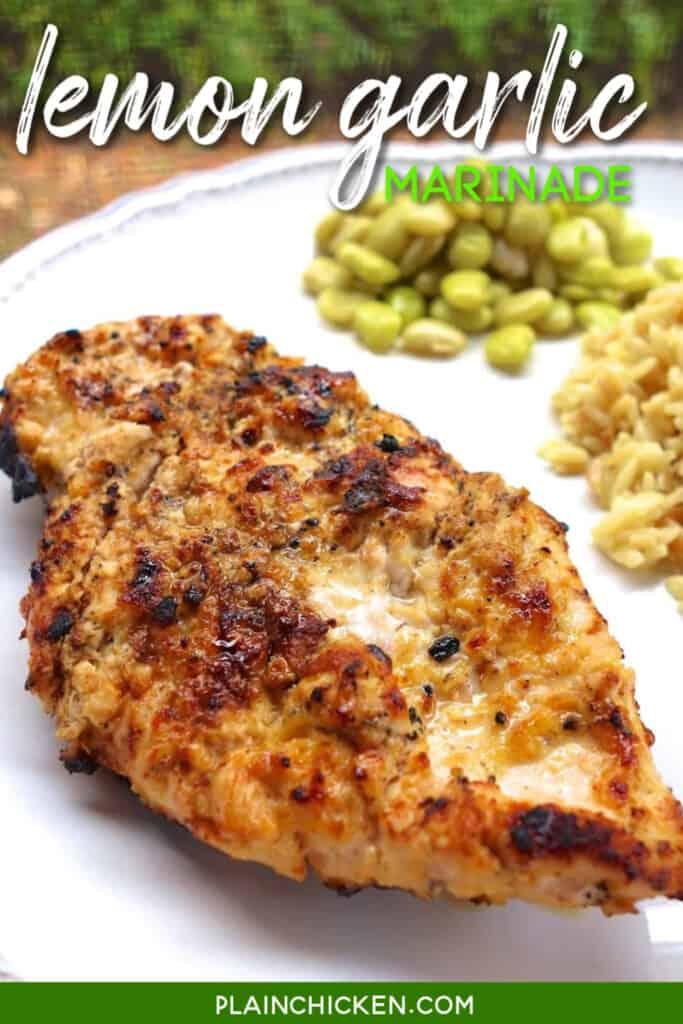 plate of lemon garlic grilled chicken