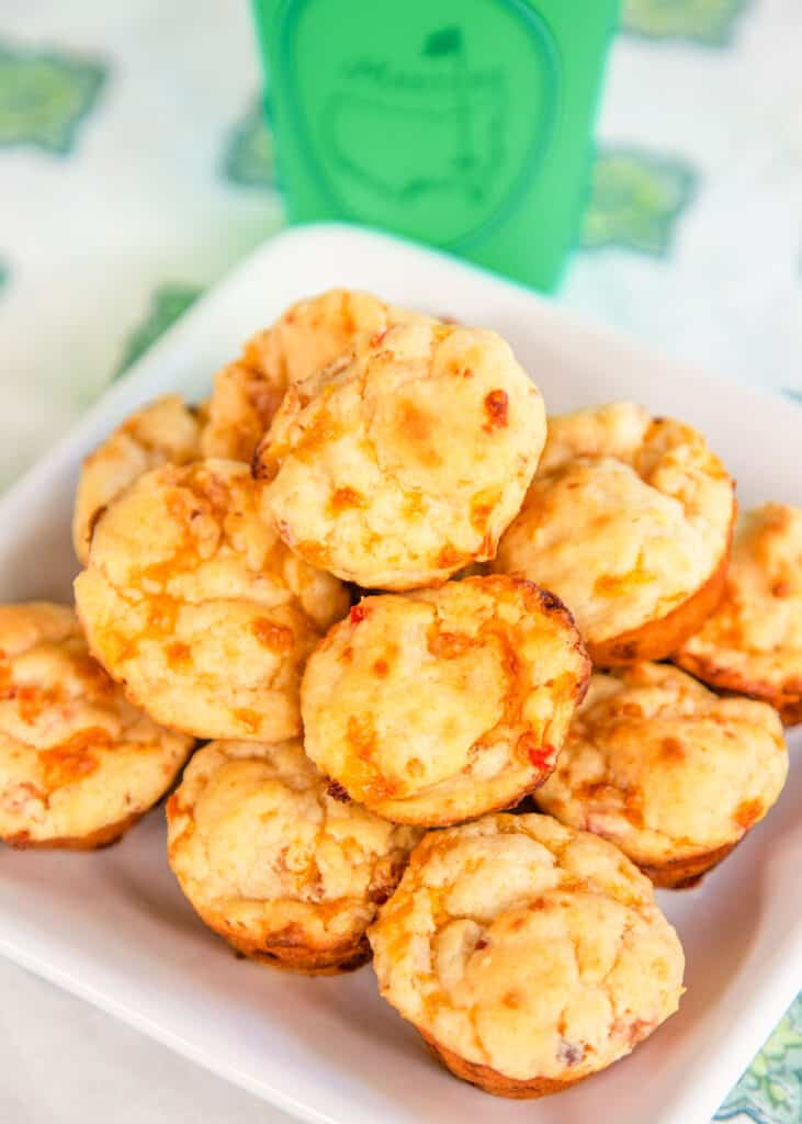 plate of pimento cheese biscuit muffins