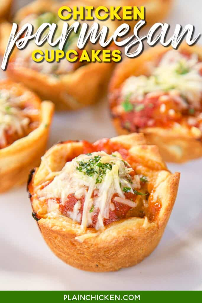 chicken parmesan in a crescent roll muffin