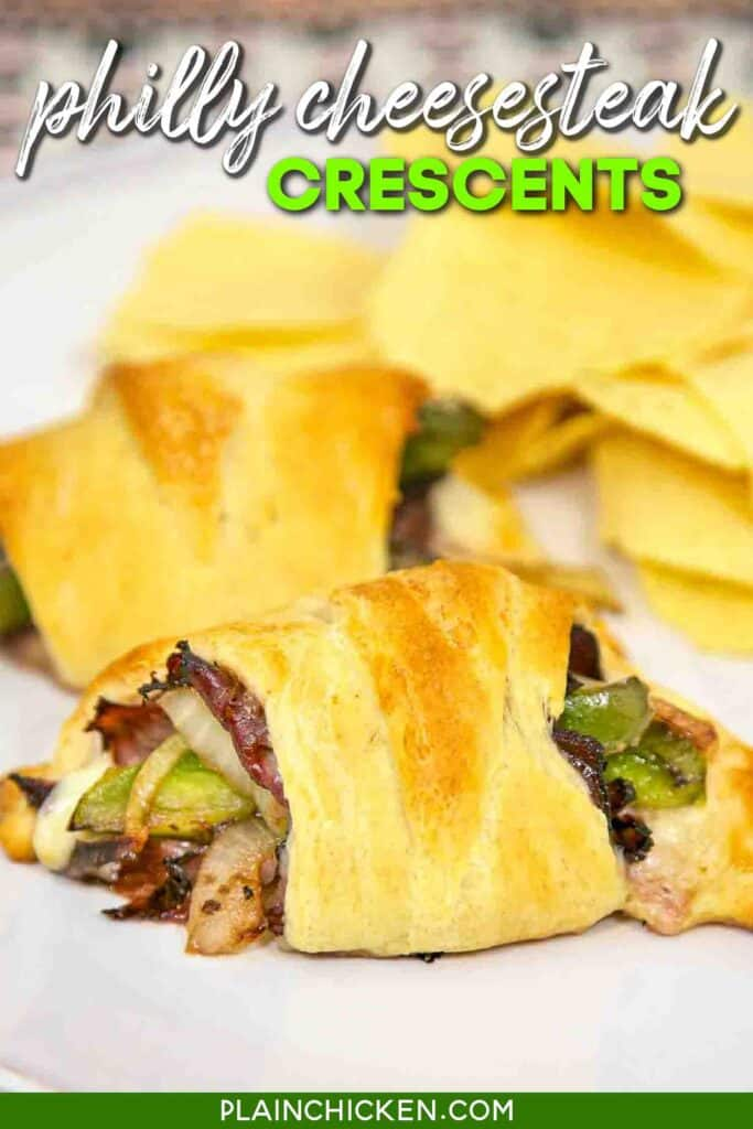 plate of philly cheesesteak crescent rolls