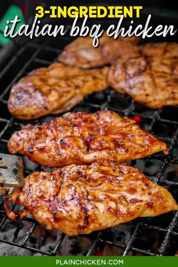 bbq chicken cooking on the grill