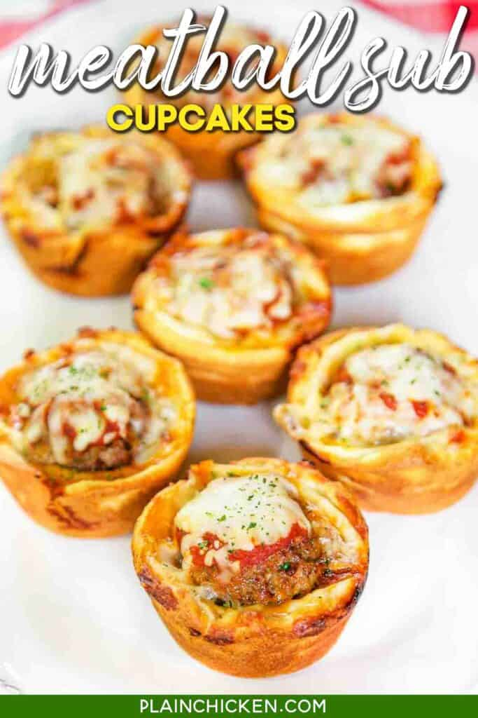 plate of meatball sub cupcakes