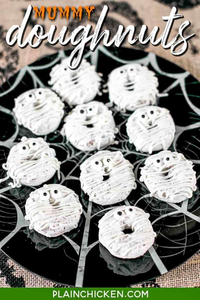 plate of mummy powdered doughnuts