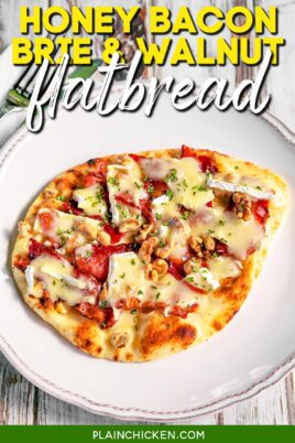 naan flatbread topped with brie and bacon