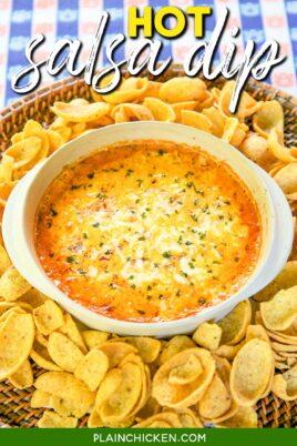 baking dish of salsa dip