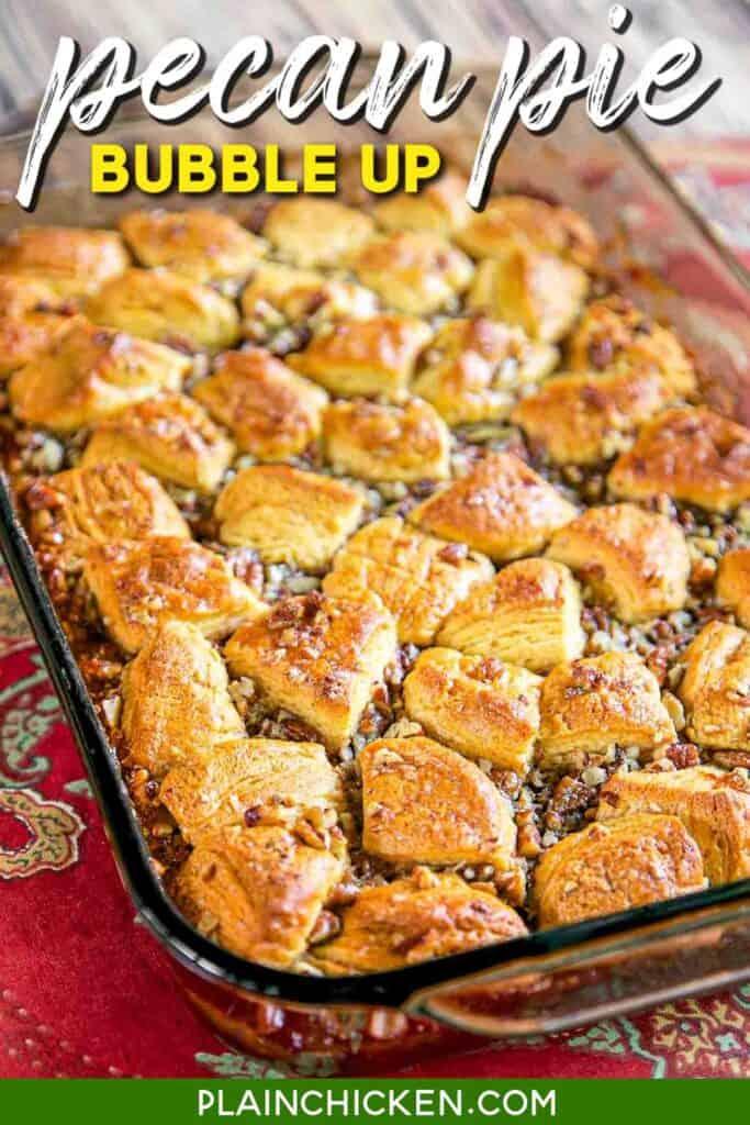 baking dish of biscuit pecan pie