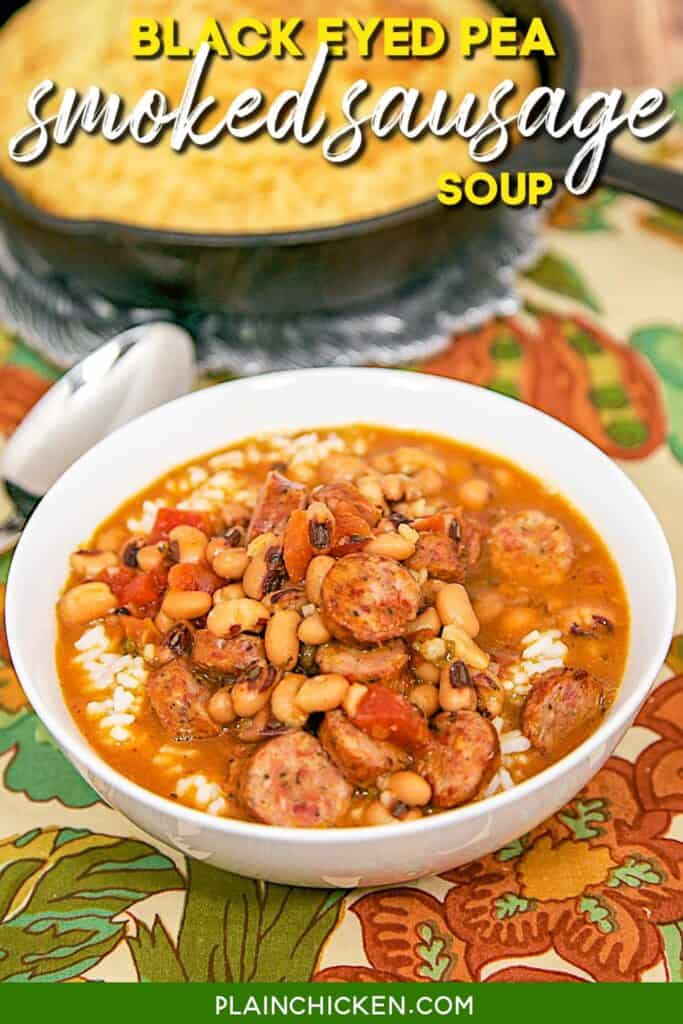 bowl of black eyed pea and smoked sausage soup