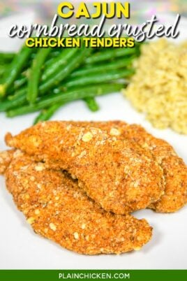 plate of chicken tenders with green beans