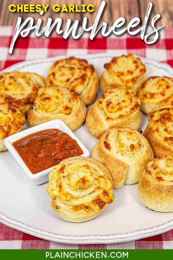 plate of cheese pizza pinwheels