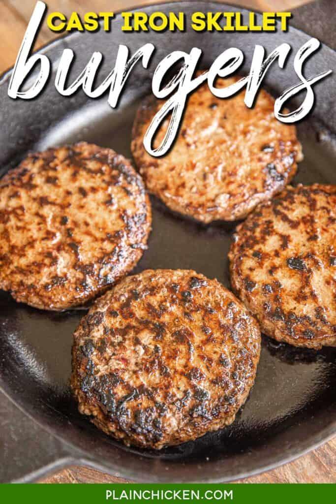 burger patties in cast iron skillet