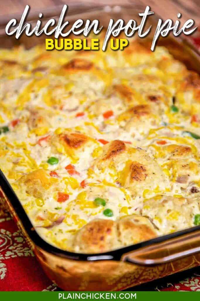 chicken & biscuit casserole in baking dish