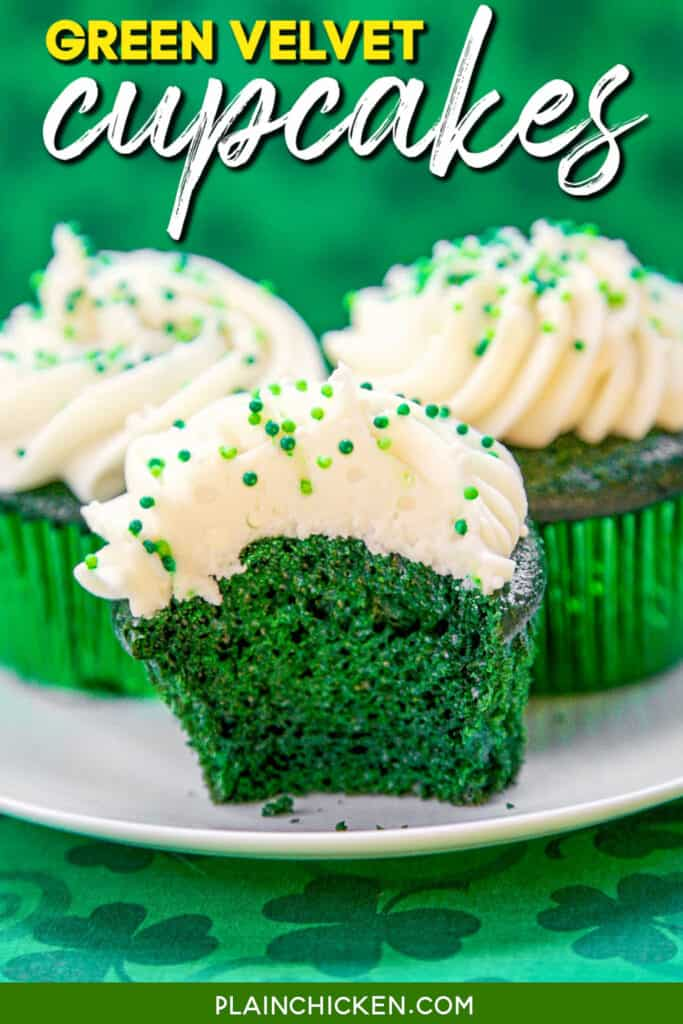 green cupcakes on a plate