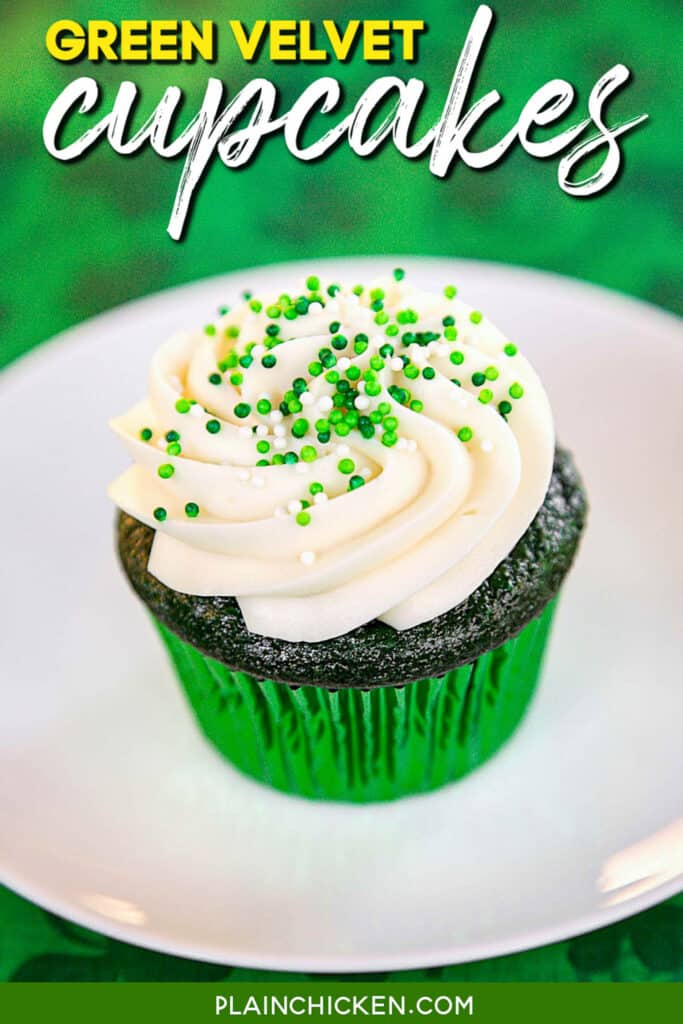 green cupcake on a plate