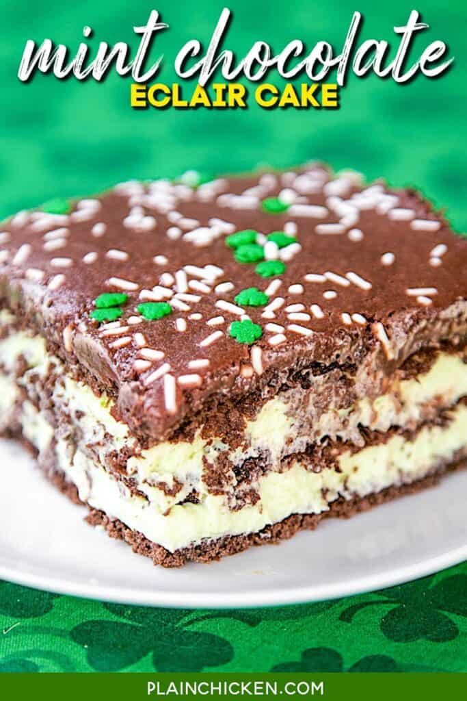 slice of mint chocolate eclair cake on a plate