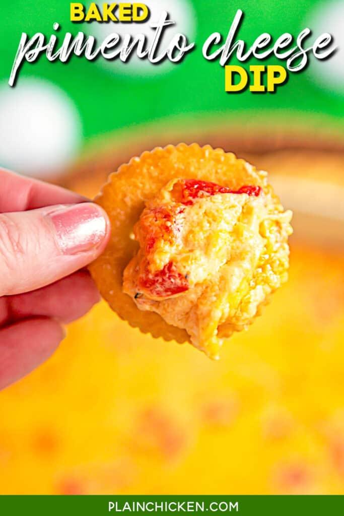 pimento cheese dip on a ritz cracker