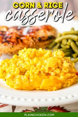 plate of corn & yellow rice casserole