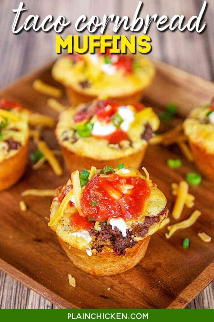 taco stuffed cornbread muffins on a platter