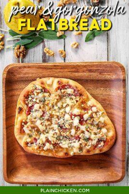 pear & gorgonzola naan flatbread on a plate