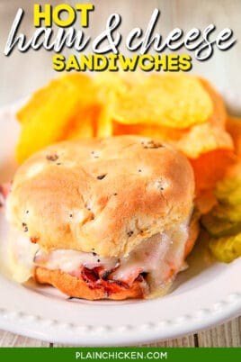 baked ham & cheese sandwich on a plate with chips