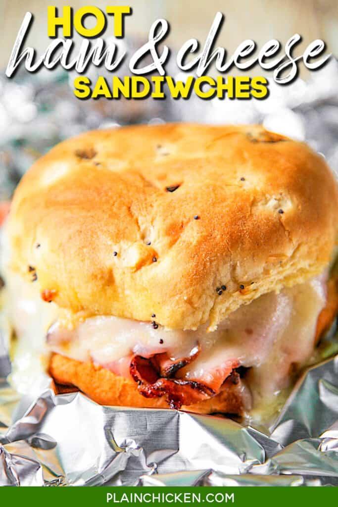 baked ham & cheese sandwich in aluminum foil