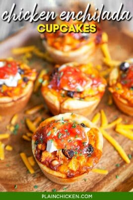 plate of chicken enchilada cupcakes