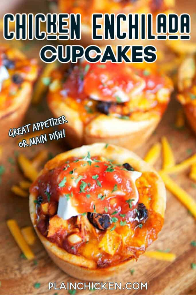 platter of chicken enchilada cupcakes
