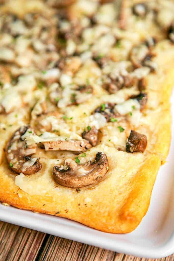mushroom cheese bread on a plate
