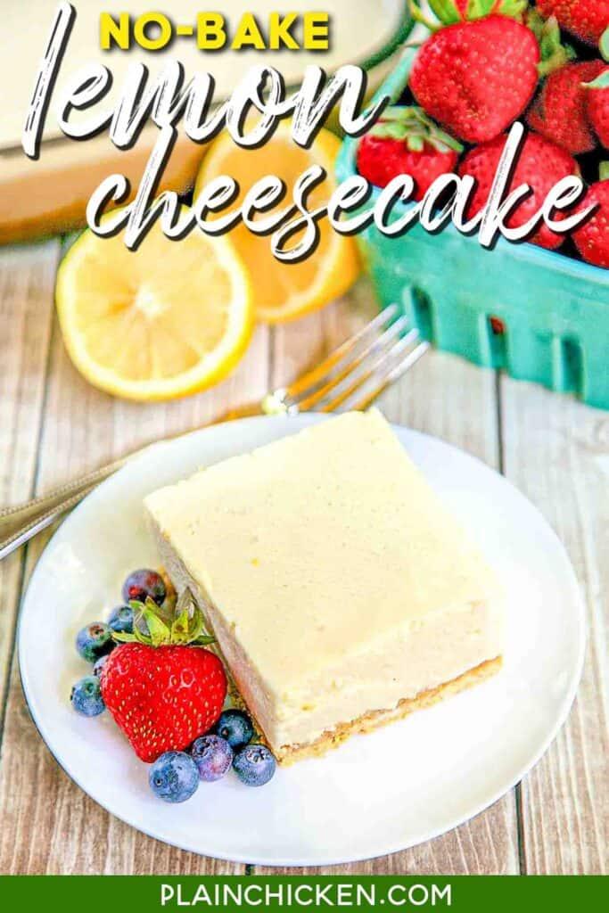 slice of lemon cheesecake on a plate