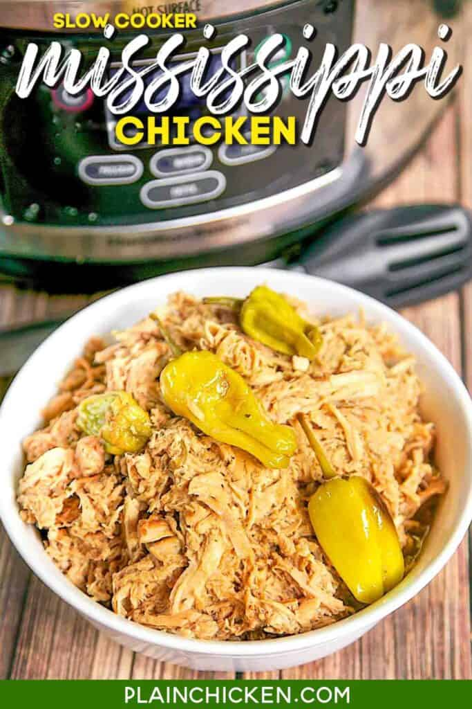 bowl of shredded chicken and banana peppers