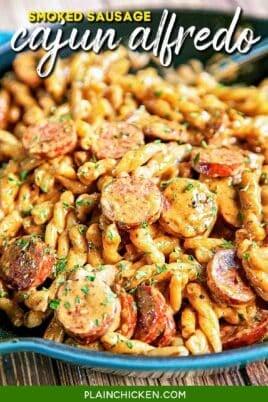 skillet of smoked sausage cajun alfredo pasta