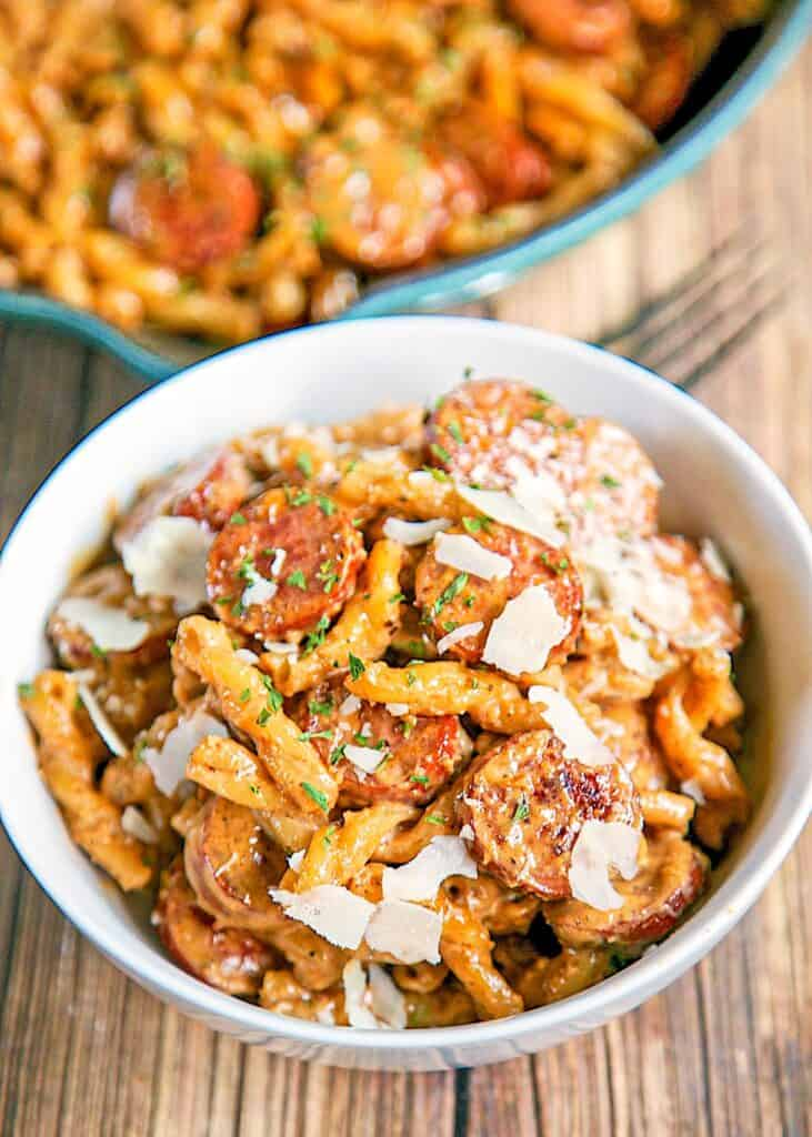 bowl of smoked sausage cajun alfredo pasta