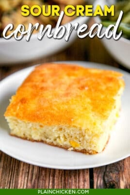 slice of cornbread on a plate