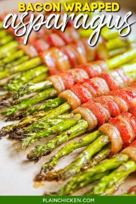 baking dish of bacon wrapped asparagus