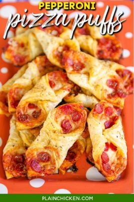 plate of pepperoni puff pastry pizza bites