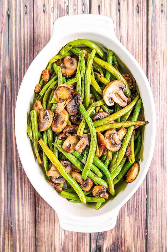 baking dish of green beans & mushrooms