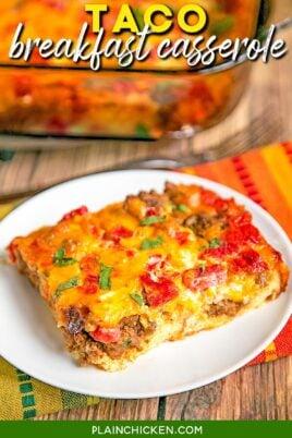 slice of taco breakfast casserole on a plate