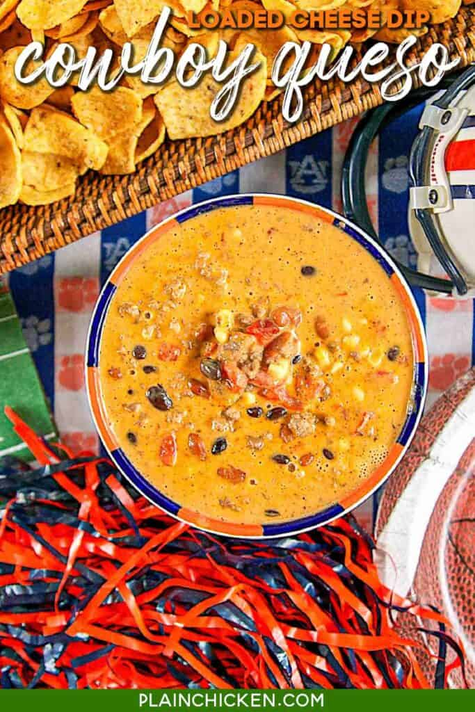 bowl of queso cheese dip