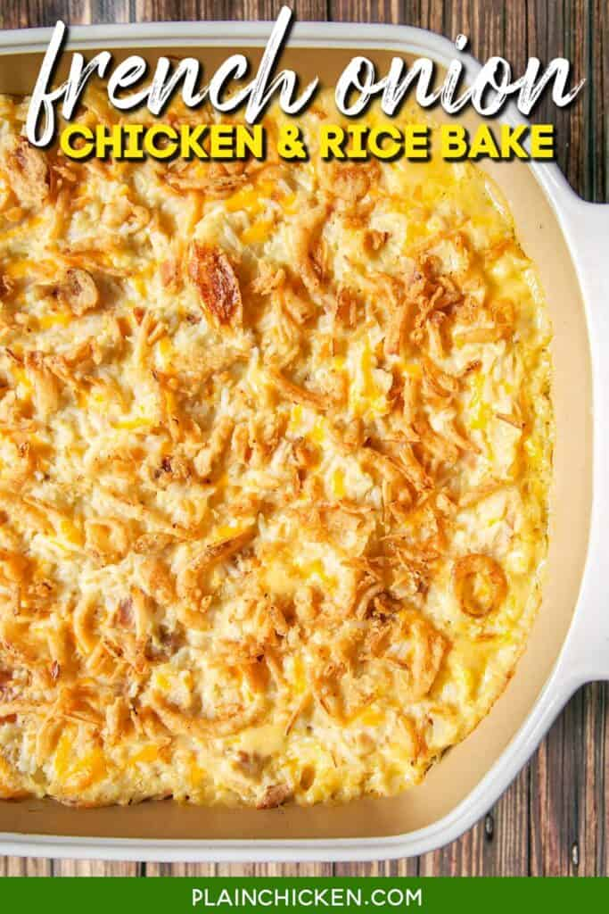 baking of french onion chicken & rice casserole